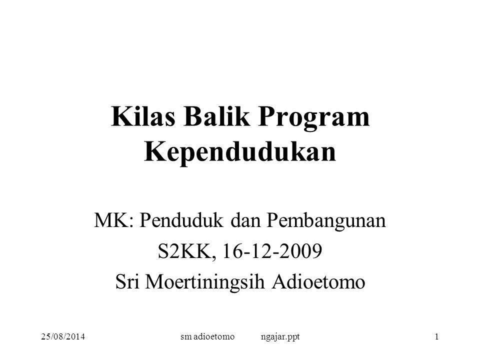 25/08/2014sm adioetomo ngajar.ppt1 Kilas Balik Program Kependudukan MK: Penduduk dan Pembangunan S2KK, 16-12-2009 Sri Moertiningsih Adioetomo