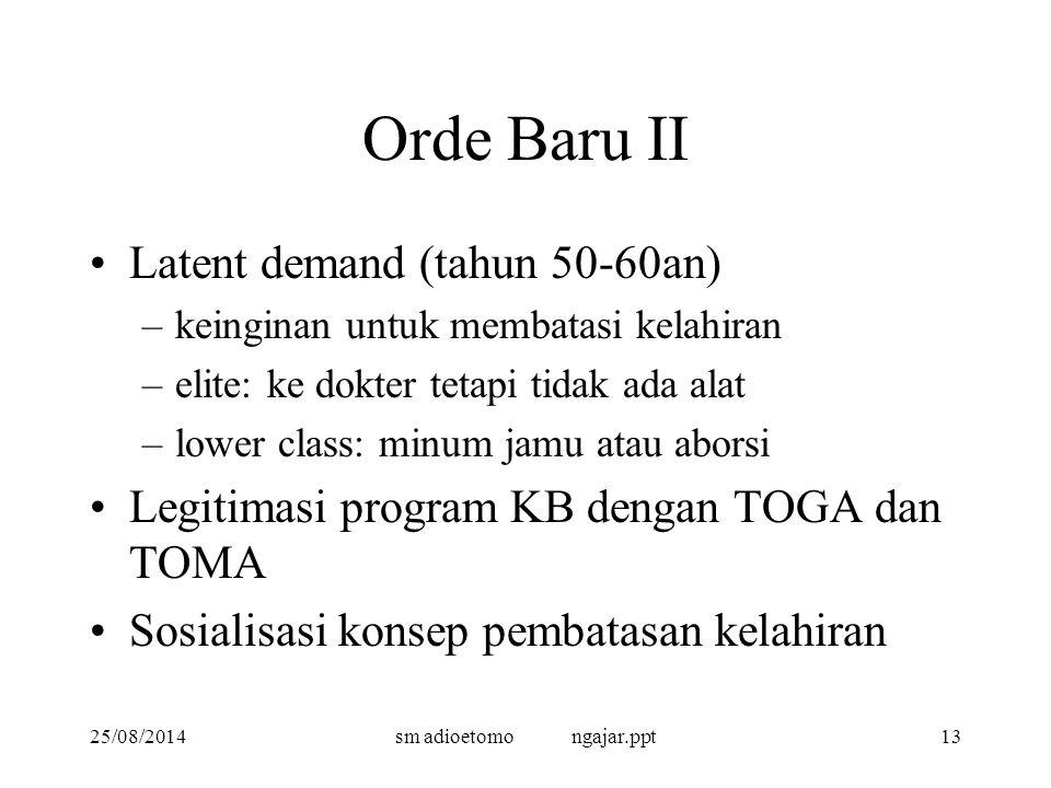 25/08/2014sm adioetomo ngajar.ppt13 Orde Baru II Latent demand (tahun 50-60an) –keinginan untuk membatasi kelahiran –elite: ke dokter tetapi tidak ada