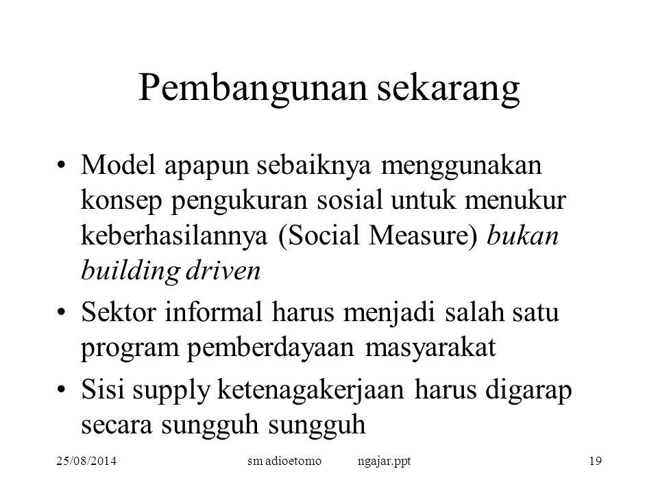 25/08/2014sm adioetomo ngajar.ppt19 Pembangunan sekarang Model apapun sebaiknya menggunakan konsep pengukuran sosial untuk menukur keberhasilannya (So