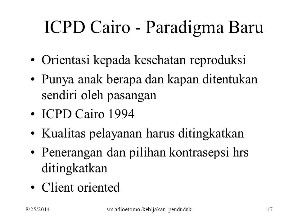 8/25/2014sm adioetomo /kebijakan penduduk17 ICPD Cairo - Paradigma Baru Orientasi kepada kesehatan reproduksi Punya anak berapa dan kapan ditentukan s