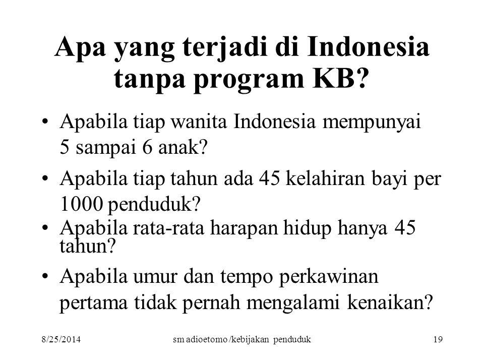 8/25/2014sm adioetomo /kebijakan penduduk19 Apa yang terjadi di Indonesia tanpa program KB? Apabila tiap wanita Indonesia mempunyai 5 sampai 6 anak? A