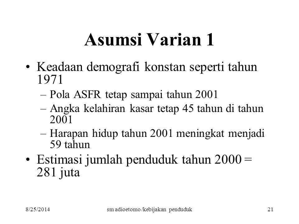 8/25/2014sm adioetomo /kebijakan penduduk21 Asumsi Varian 1 Keadaan demografi konstan seperti tahun 1971 –Pola ASFR tetap sampai tahun 2001 –Angka kel