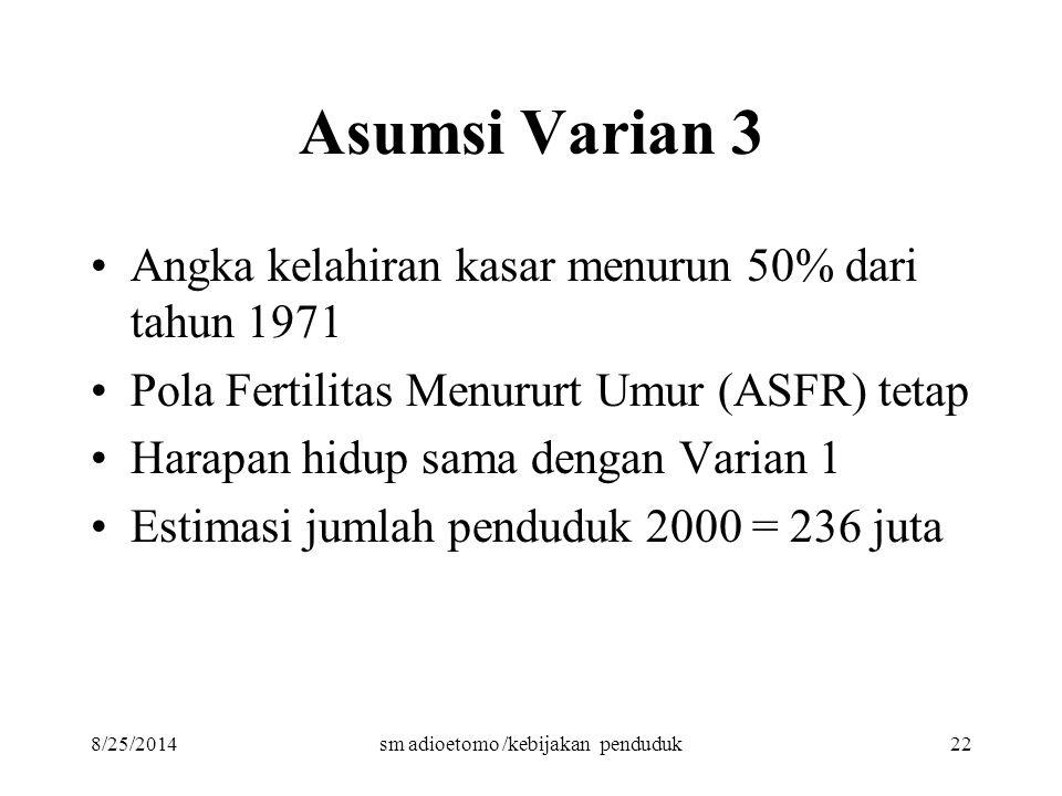 8/25/2014sm adioetomo /kebijakan penduduk22 Asumsi Varian 3 Angka kelahiran kasar menurun 50% dari tahun 1971 Pola Fertilitas Menururt Umur (ASFR) tet