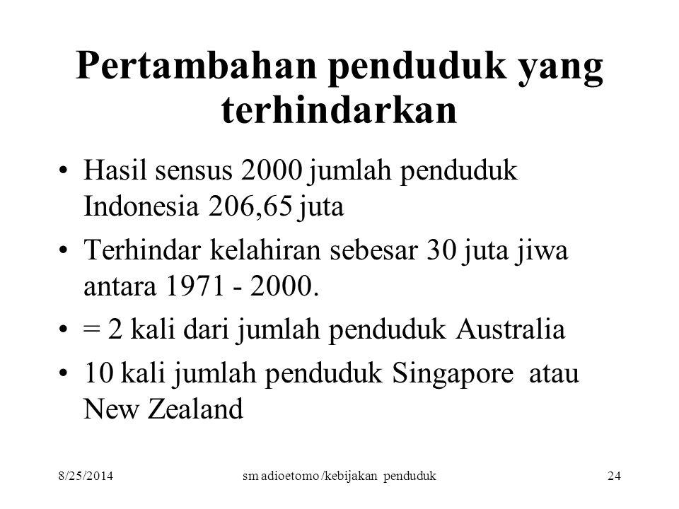 8/25/2014sm adioetomo /kebijakan penduduk24 Pertambahan penduduk yang terhindarkan Hasil sensus 2000 jumlah penduduk Indonesia 206,65 juta Terhindar k