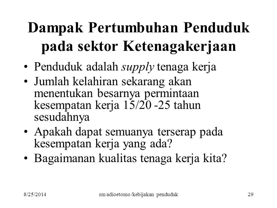 8/25/2014sm adioetomo /kebijakan penduduk29 Dampak Pertumbuhan Penduduk pada sektor Ketenagakerjaan Penduduk adalah supply tenaga kerja Jumlah kelahir