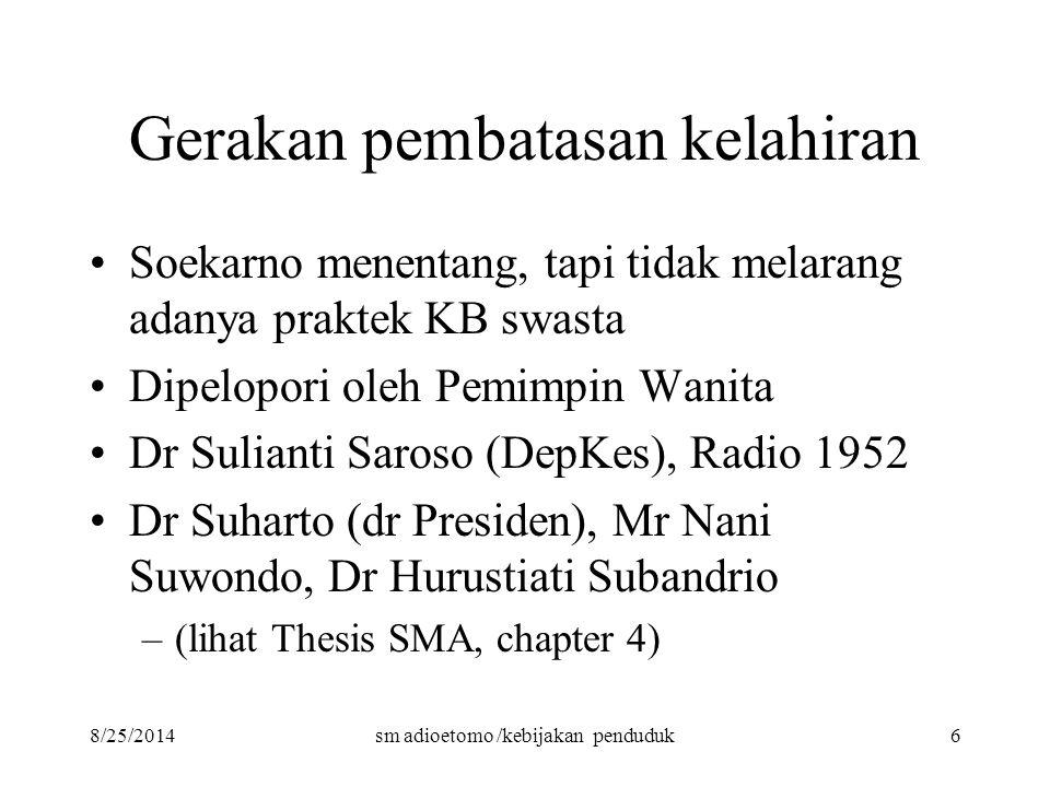 8/25/2014sm adioetomo /kebijakan penduduk6 Gerakan pembatasan kelahiran Soekarno menentang, tapi tidak melarang adanya praktek KB swasta Dipelopori ol