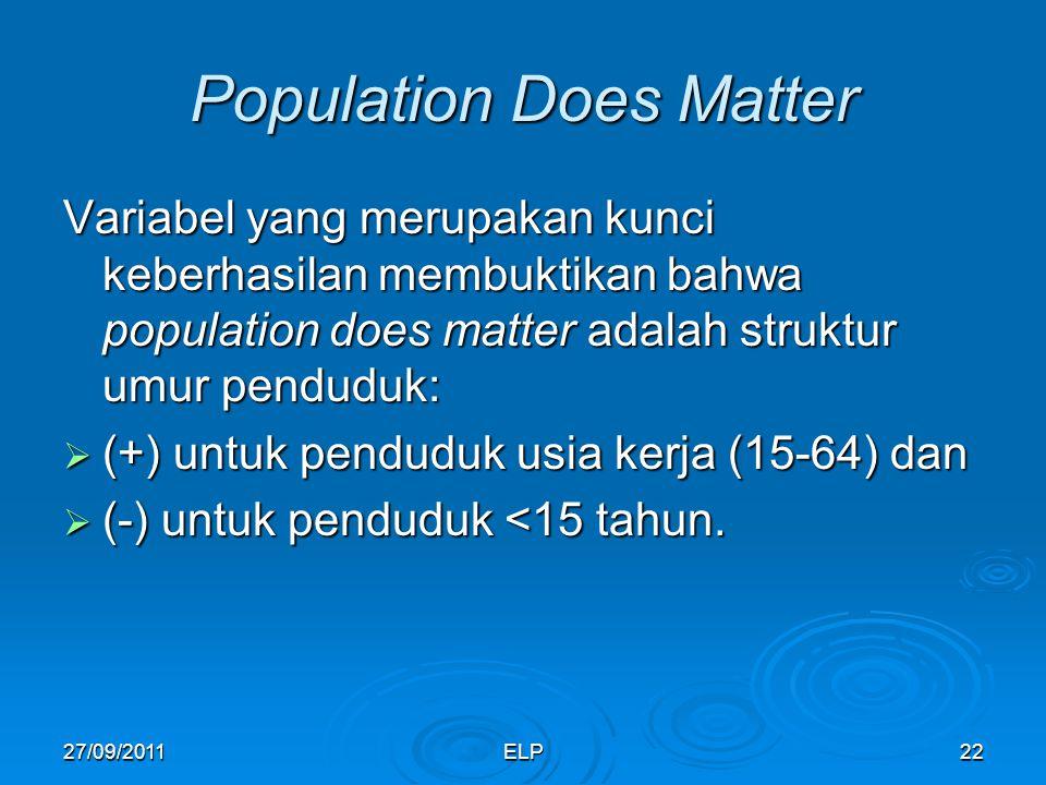 ELP22 Population Does Matter Variabel yang merupakan kunci keberhasilan membuktikan bahwa population does matter adalah struktur umur penduduk:  (+) untuk penduduk usia kerja (15-64) dan  (-) untuk penduduk <15 tahun.
