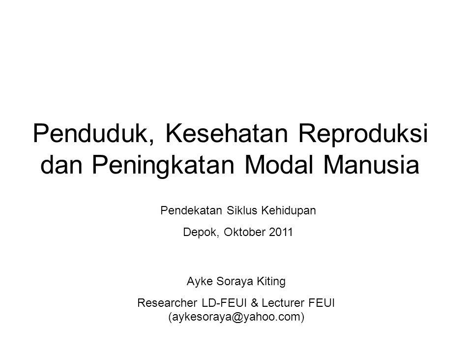 Penduduk, Kesehatan Reproduksi dan Peningkatan Modal Manusia Ayke Soraya Kiting Researcher LD-FEUI & Lecturer FEUI (aykesoraya@yahoo.com) Pendekatan S