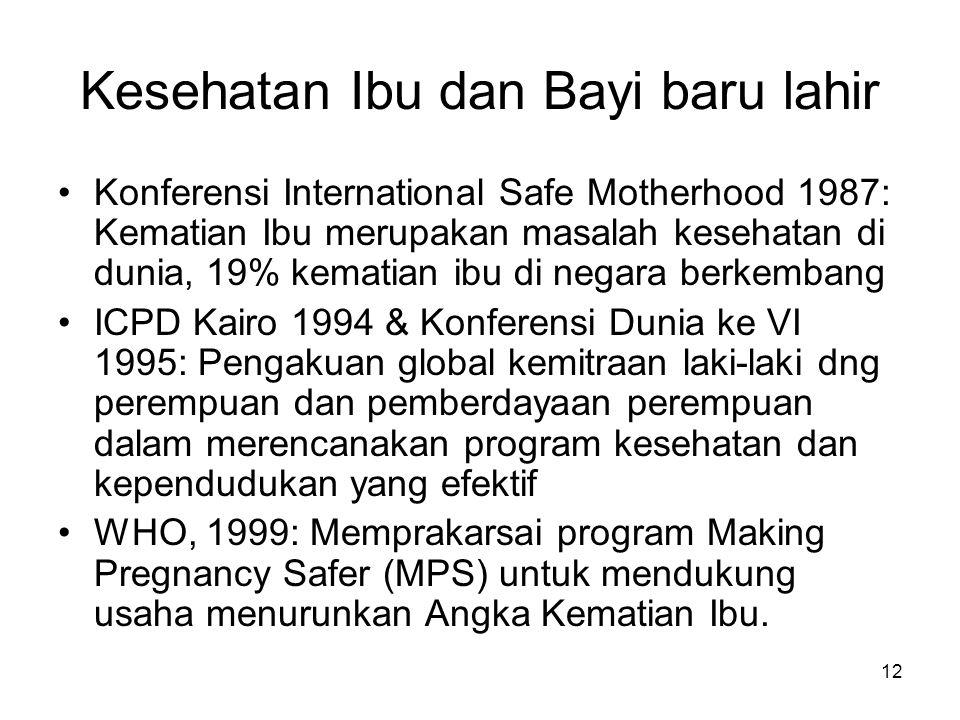 12 Kesehatan Ibu dan Bayi baru lahir Konferensi International Safe Motherhood 1987: Kematian Ibu merupakan masalah kesehatan di dunia, 19% kematian ib