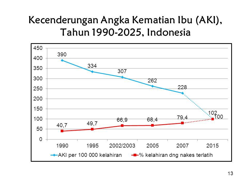 13 Kecenderungan Angka Kematian Ibu (AKI), Tahun 1990-2025, Indonesia