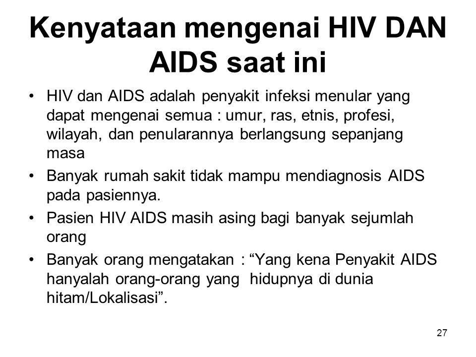 Kenyataan mengenai HIV DAN AIDS saat ini HIV dan AIDS adalah penyakit infeksi menular yang dapat mengenai semua : umur, ras, etnis, profesi, wilayah,