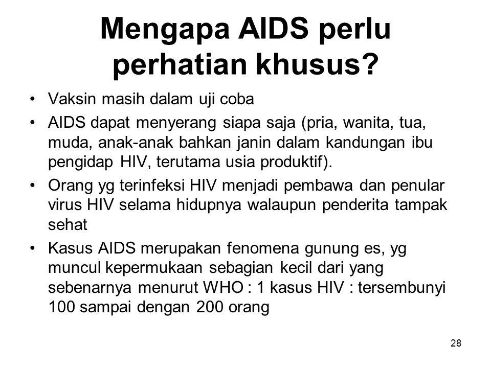 Mengapa AIDS perlu perhatian khusus? Vaksin masih dalam uji coba AIDS dapat menyerang siapa saja (pria, wanita, tua, muda, anak-anak bahkan janin dala