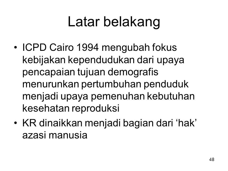 48 Latar belakang ICPD Cairo 1994 mengubah fokus kebijakan kependudukan dari upaya pencapaian tujuan demografis menurunkan pertumbuhan penduduk menjad