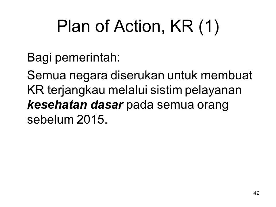 49 Plan of Action, KR (1) Bagi pemerintah: Semua negara diserukan untuk membuat KR terjangkau melalui sistim pelayanan kesehatan dasar pada semua oran