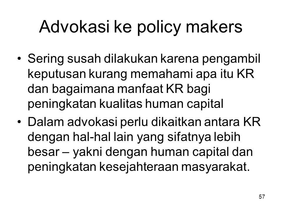 57 Advokasi ke policy makers Sering susah dilakukan karena pengambil keputusan kurang memahami apa itu KR dan bagaimana manfaat KR bagi peningkatan ku