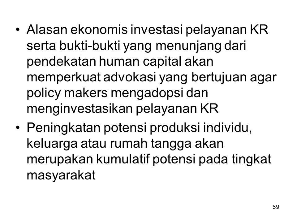 59 Alasan ekonomis investasi pelayanan KR serta bukti-bukti yang menunjang dari pendekatan human capital akan memperkuat advokasi yang bertujuan agar