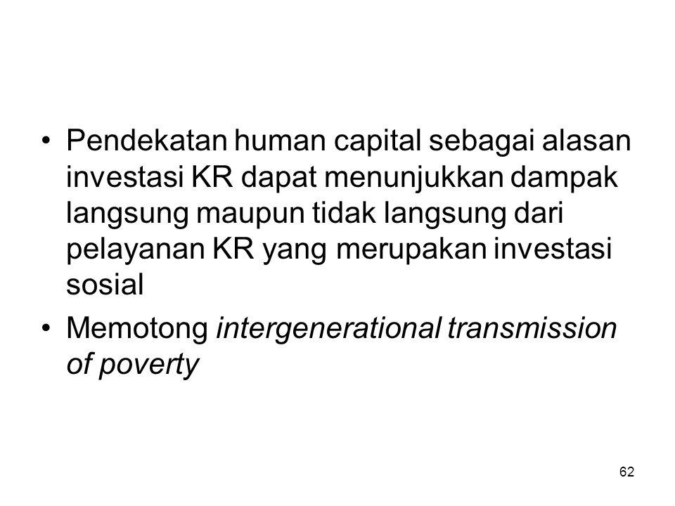 62 Pendekatan human capital sebagai alasan investasi KR dapat menunjukkan dampak langsung maupun tidak langsung dari pelayanan KR yang merupakan inves