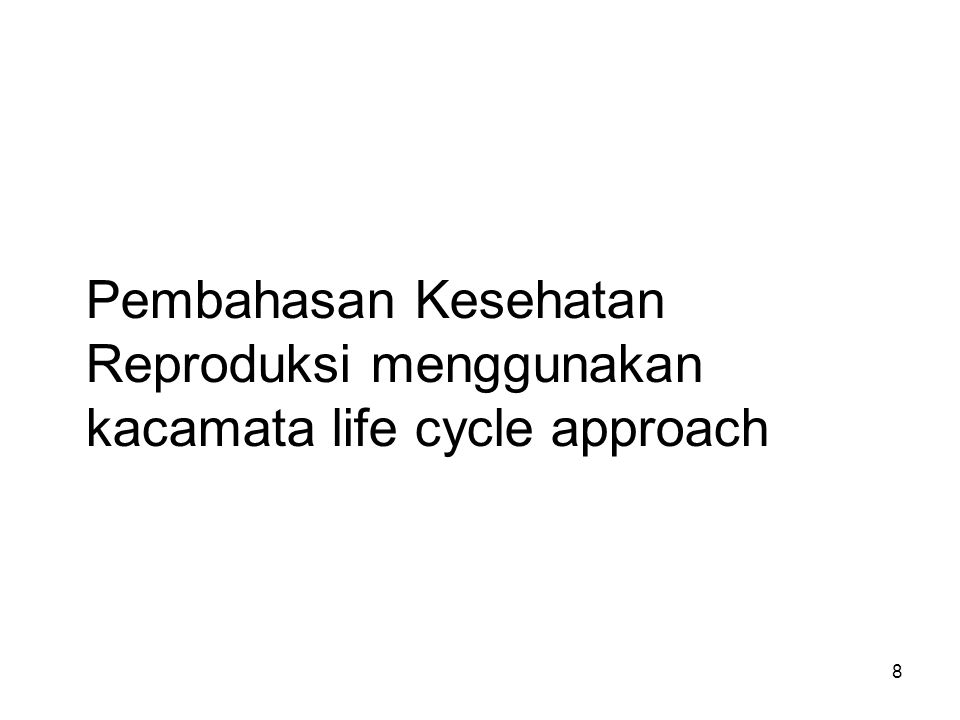 19 Family Planning Program in Indonesia FP program  International recognition Demographic indicators: CPR (contraceptive prevalence rate) –49.7% (IDHS 1991)  60.3% (SDKI 2002-03)  61,4 (SDKI 2007) 199020002010 Jumlah penduduk (juta) 179.4206.3234 Pertumbuhan penduduk 1.981.491.34 TFR3.12.8 2.6 (thn 2007)