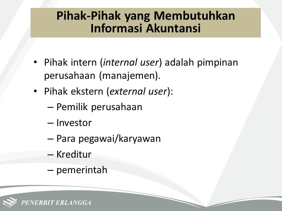 Pihak-Pihak yang Membutuhkan Informasi Akuntansi Pihak intern (internal user) adalah pimpinan perusahaan (manajemen). Pihak ekstern (external user): –