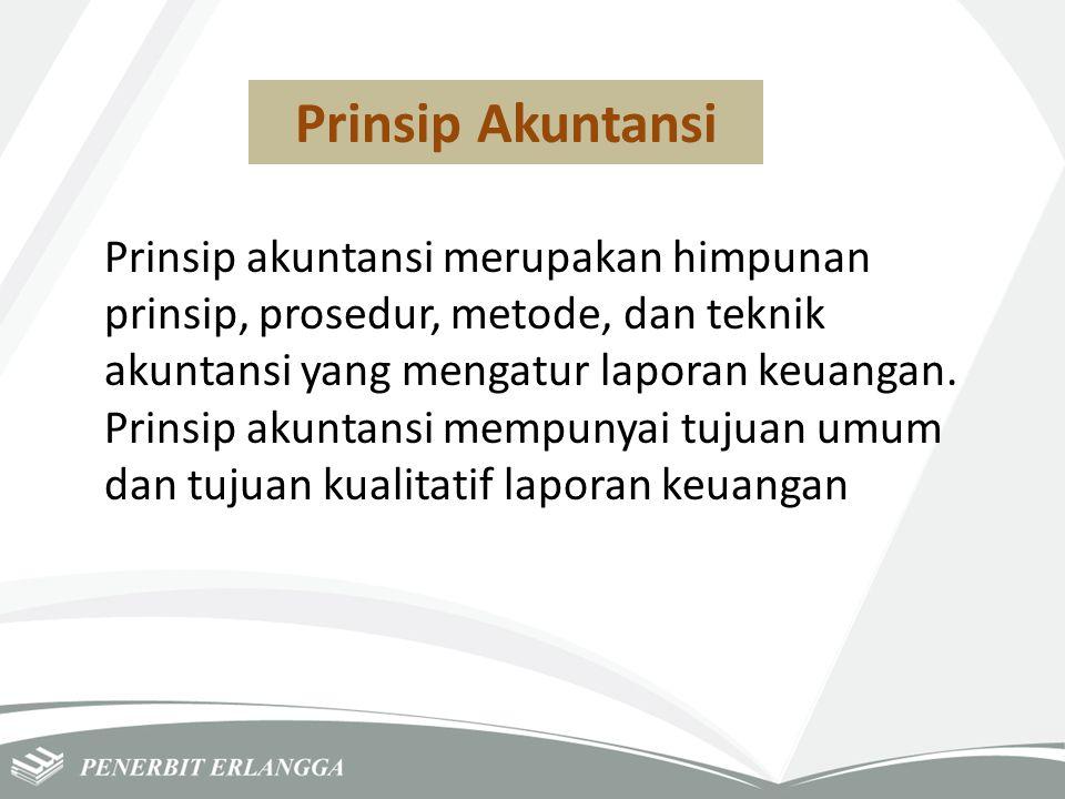 Prinsip Akuntansi Prinsip akuntansi merupakan himpunan prinsip, prosedur, metode, dan teknik akuntansi yang mengatur laporan keuangan. Prinsip akuntan