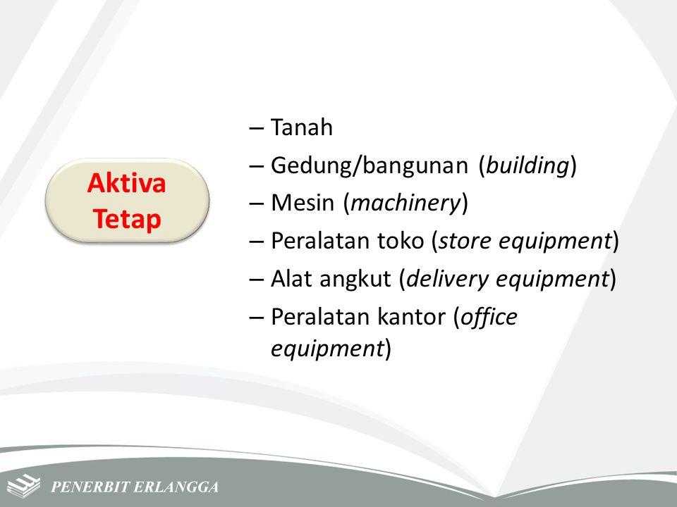 – Tanah – Gedung/bangunan (building) – Mesin (machinery) – Peralatan toko (store equipment) – Alat angkut (delivery equipment) – Peralatan kantor (off