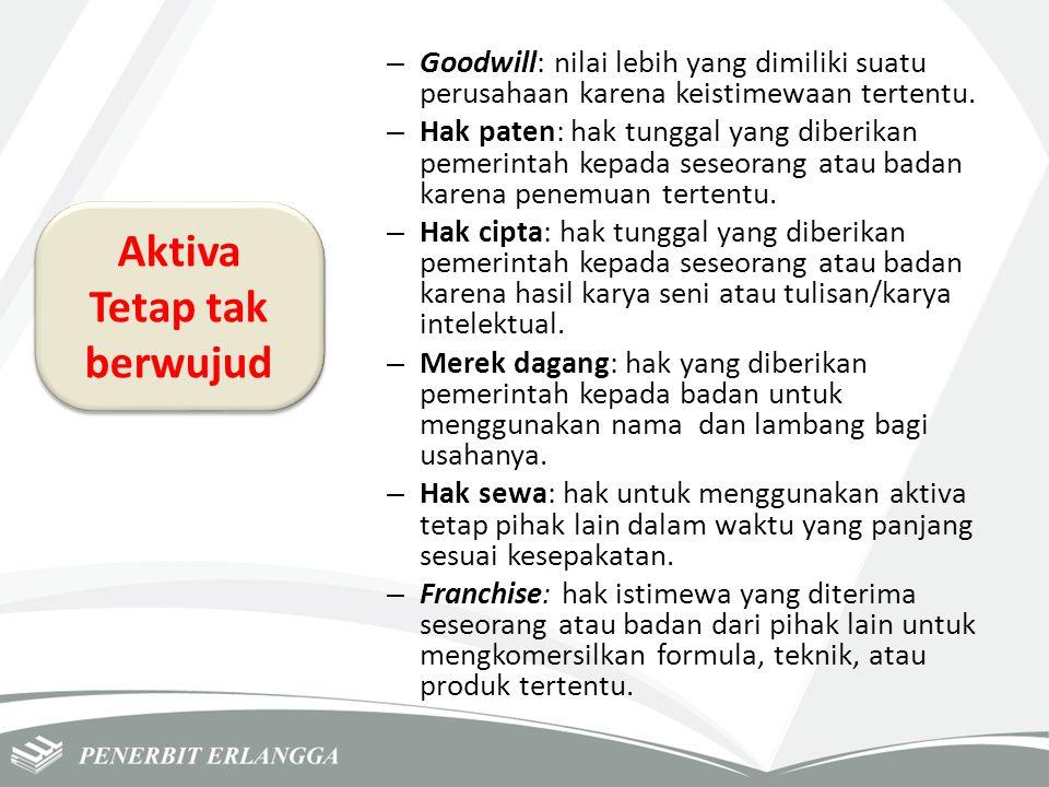 – Goodwill: nilai lebih yang dimiliki suatu perusahaan karena keistimewaan tertentu. – Hak paten: hak tunggal yang diberikan pemerintah kepada seseora