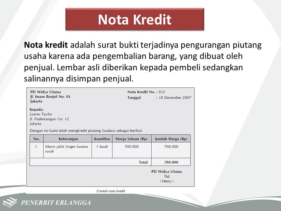 Nota Kredit Nota kredit adalah surat bukti terjadinya pengurangan piutang usaha karena ada pengembalian barang, yang dibuat oleh penjual. Lembar asli