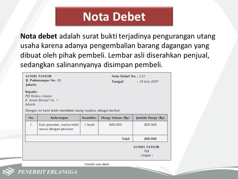 Nota Debet Nota debet adalah surat bukti terjadinya pengurangan utang usaha karena adanya pengembalian barang dagangan yang dibuat oleh pihak pembeli.