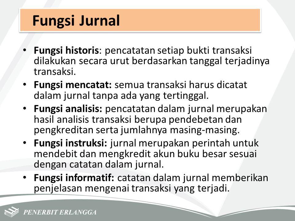 Fungsi Jurnal Fungsi historis: pencatatan setiap bukti transaksi dilakukan secara urut berdasarkan tanggal terjadinya transaksi. Fungsi mencatat: semu