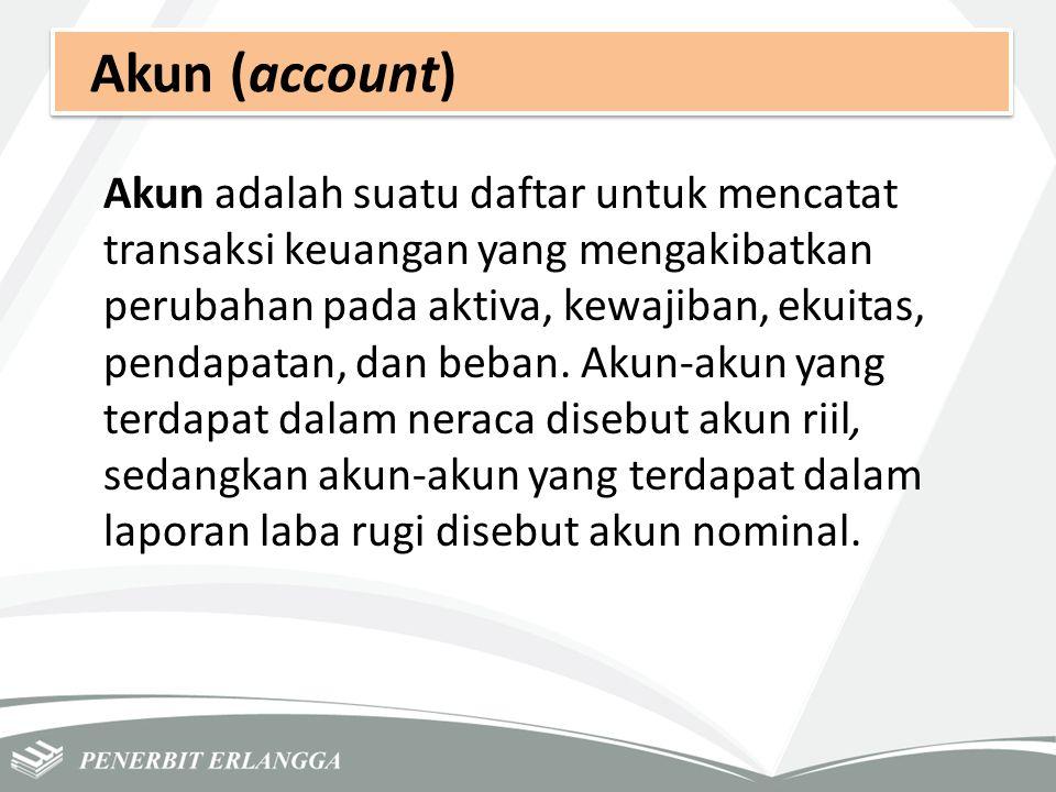 Akun (account) Akun adalah suatu daftar untuk mencatat transaksi keuangan yang mengakibatkan perubahan pada aktiva, kewajiban, ekuitas, pendapatan, da
