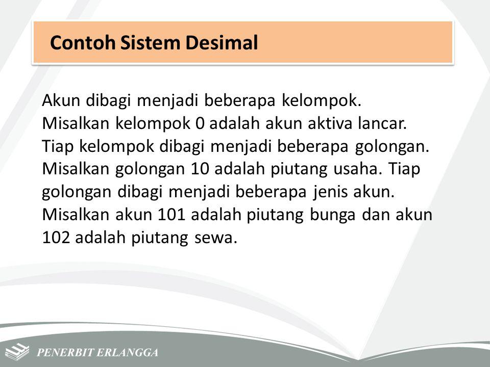Contoh Sistem Desimal Akun dibagi menjadi beberapa kelompok. Misalkan kelompok 0 adalah akun aktiva lancar. Tiap kelompok dibagi menjadi beberapa golo