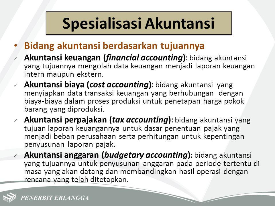 Spesialisasi Akuntansi Bidang akuntansi berdasarkan tujuannya Akuntansi keuangan (financial accounting) : bidang akuntansi yang tujuannya mengolah dat
