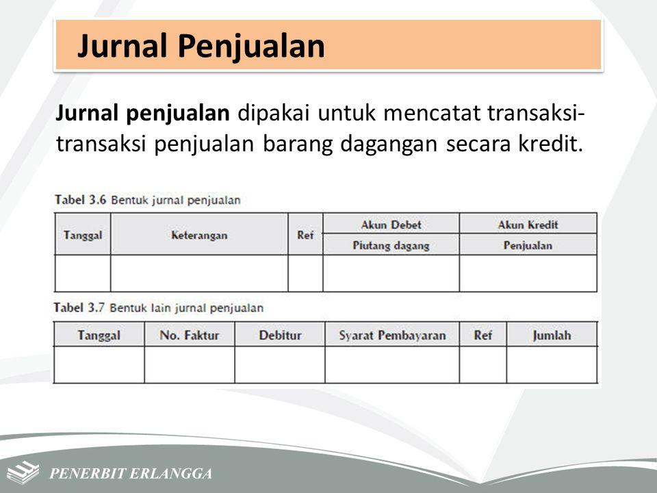 Jurnal Penjualan Jurnal penjualan dipakai untuk mencatat transaksi- transaksi penjualan barang dagangan secara kredit.
