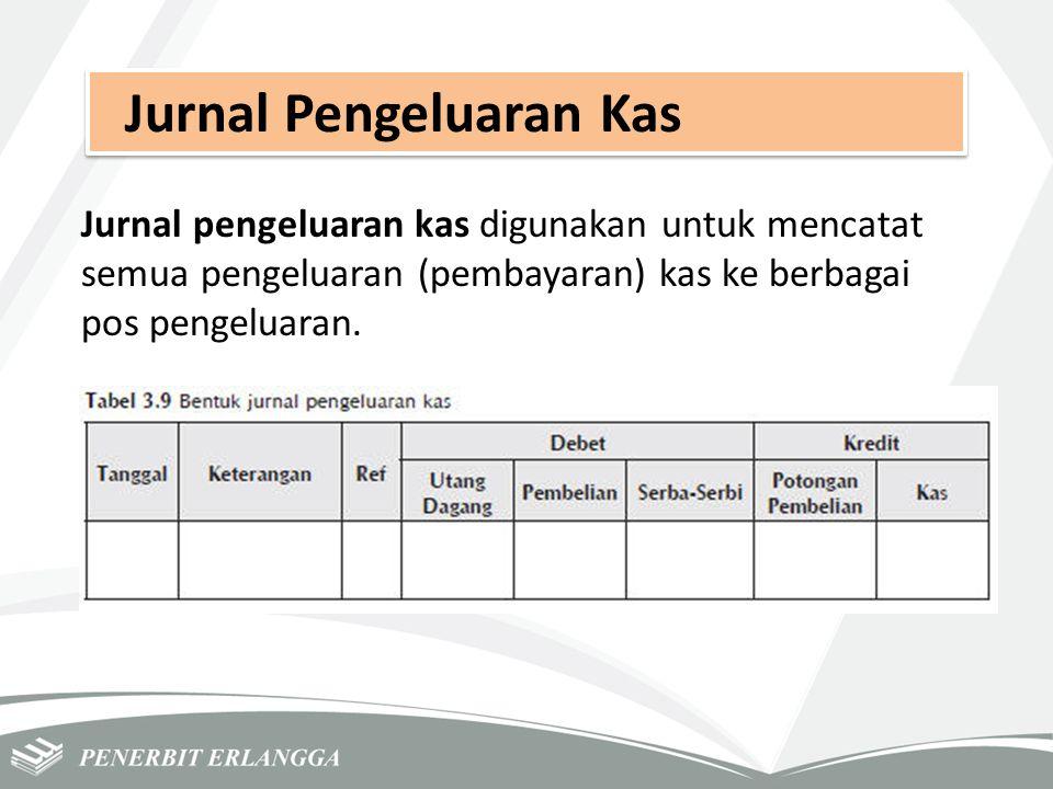 Jurnal Pengeluaran Kas Jurnal pengeluaran kas digunakan untuk mencatat semua pengeluaran (pembayaran) kas ke berbagai pos pengeluaran.
