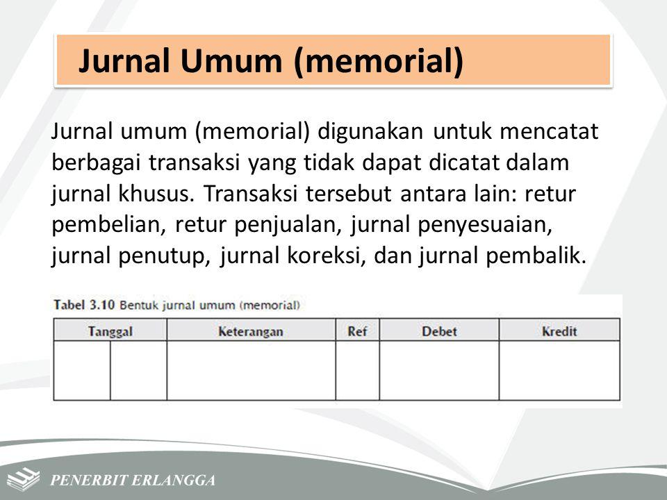Jurnal Umum (memorial) Jurnal umum (memorial) digunakan untuk mencatat berbagai transaksi yang tidak dapat dicatat dalam jurnal khusus. Transaksi ters