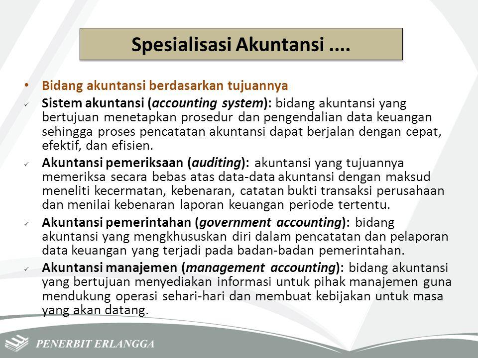Bidang akuntansi berdasarkan tujuannya Sistem akuntansi (accounting system): bidang akuntansi yang bertujuan menetapkan prosedur dan pengendalian data