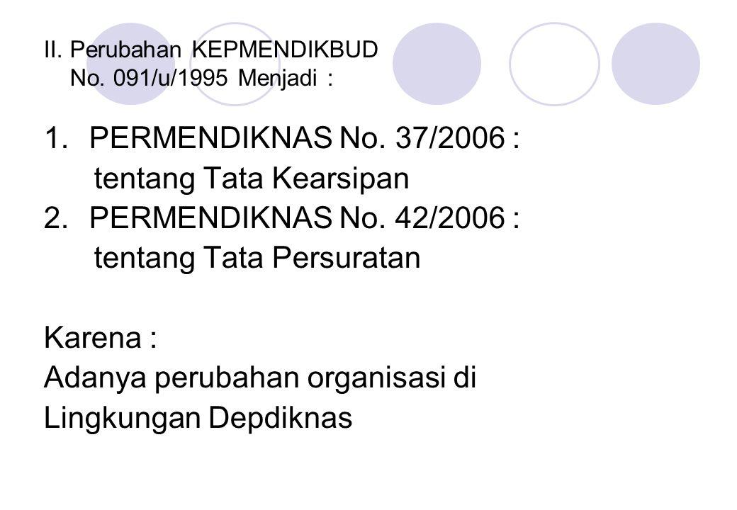 II. Perubahan KEPMENDIKBUD No. 091/u/1995 Menjadi : 1.PERMENDIKNAS No. 37/2006 : tentang Tata Kearsipan 2.PERMENDIKNAS No. 42/2006 : tentang Tata Pers