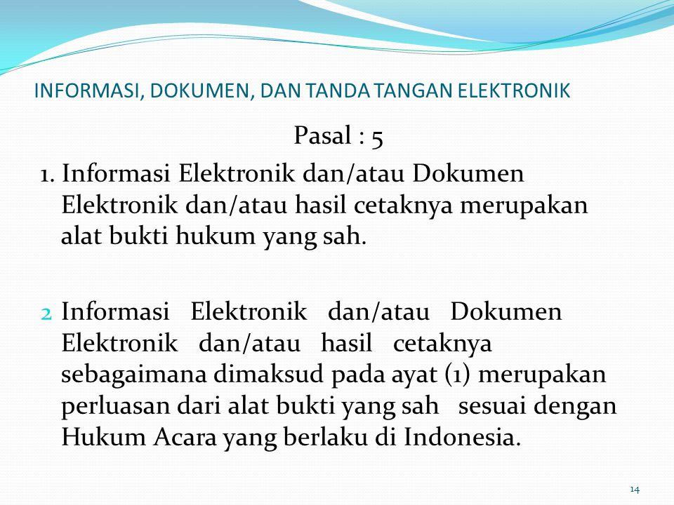 INFORMASI, DOKUMEN, DAN TANDA TANGAN ELEKTRONIK Pasal : 5 1. Informasi Elektronik dan/atau Dokumen Elektronik dan/atau hasil cetaknya merupakan alat b