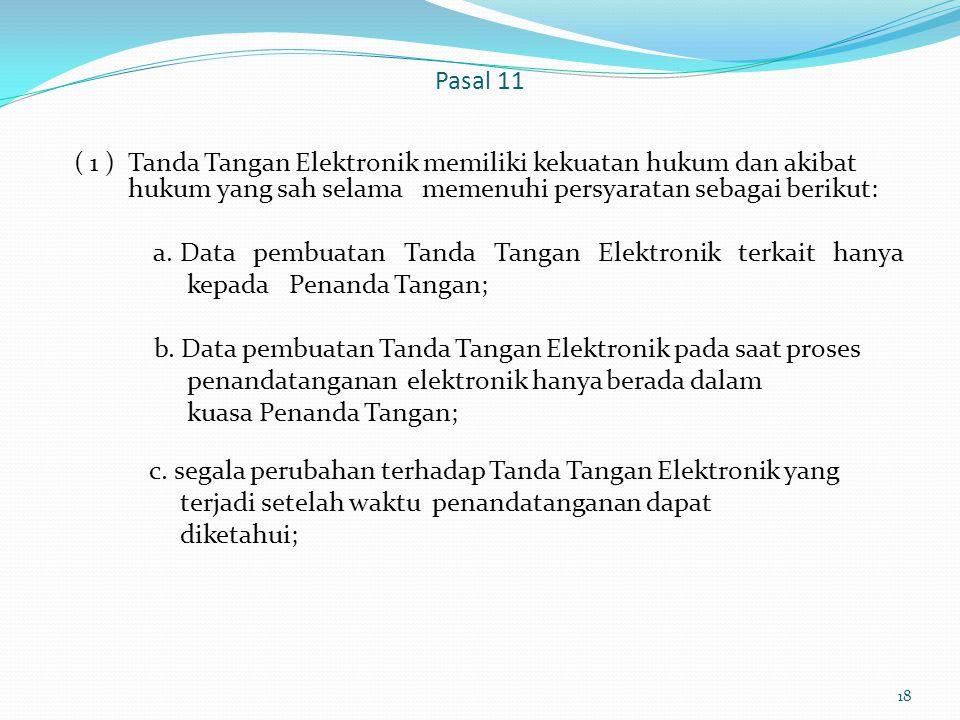 Pasal 11 ( 1 ) Tanda Tangan Elektronik memiliki kekuatan hukum dan akibat hukum yang sah selama memenuhi persyaratan sebagai berikut: a. Data pembuata