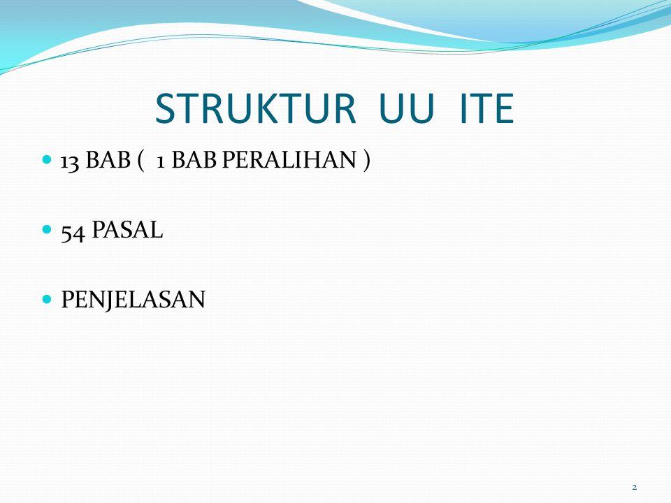 STRUKTUR UU ITE 13 BAB ( 1 BAB PERALIHAN ) 54 PASAL PENJELASAN 2