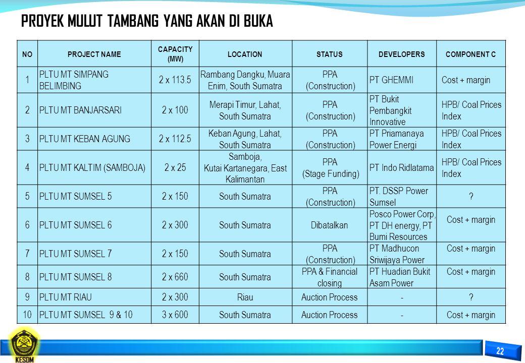NOPROJECT NAME CAPACITY (MW) LOCATIONSTATUSDEVELOPERSCOMPONENT C 1 PLTU MT SIMPANG BELIMBING 2 x 113.5 Rambang Dangku, Muara Enim, South Sumatra PPA (