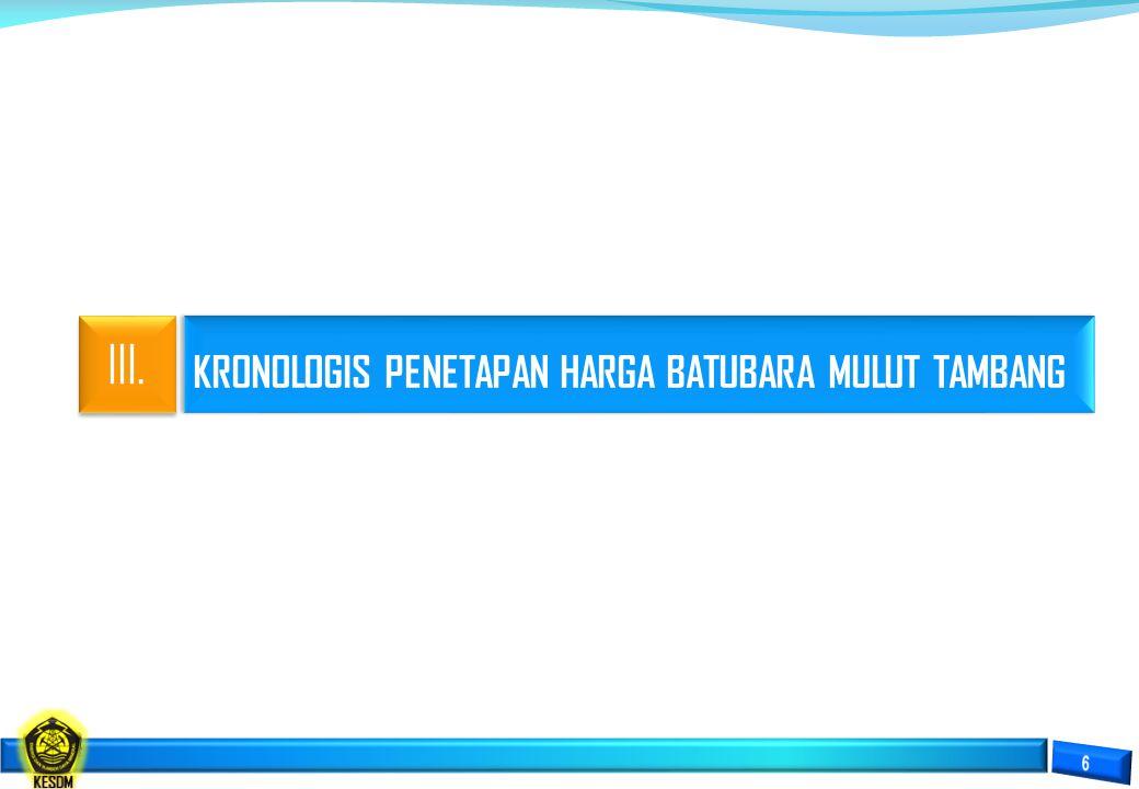 KRONOLOGIS PENETAPAN HARGA BATUBARA MULUT TAMBANG III.