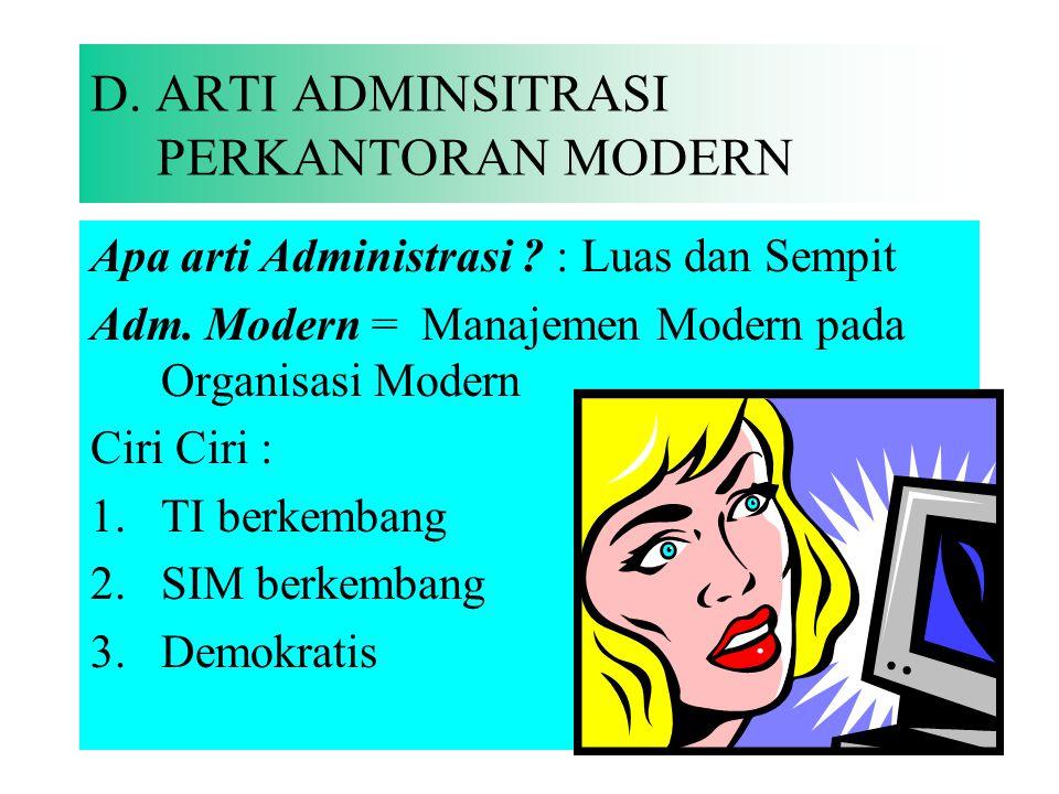 Kantor Modern : Mutakir, terbaru, cara pikir/pandang dan sikap yang sesuai tuntutan jaman. Kantor : bermakna Statis dan Dinamis Kantor Modern : 1.Desi