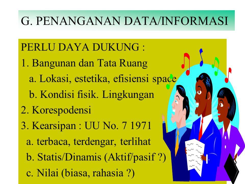 F. PERAN PERKANTORAN - INFORMASI Penanganan Data/Informasi : a.Data Collecting b.Recording c.Processing d.Filling/Storing e.Distributing Fungsi Pimpin