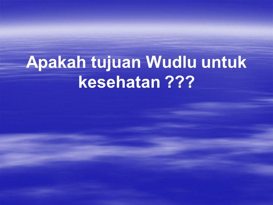 Apakah tujuan Wudlu untuk kesehatan ???