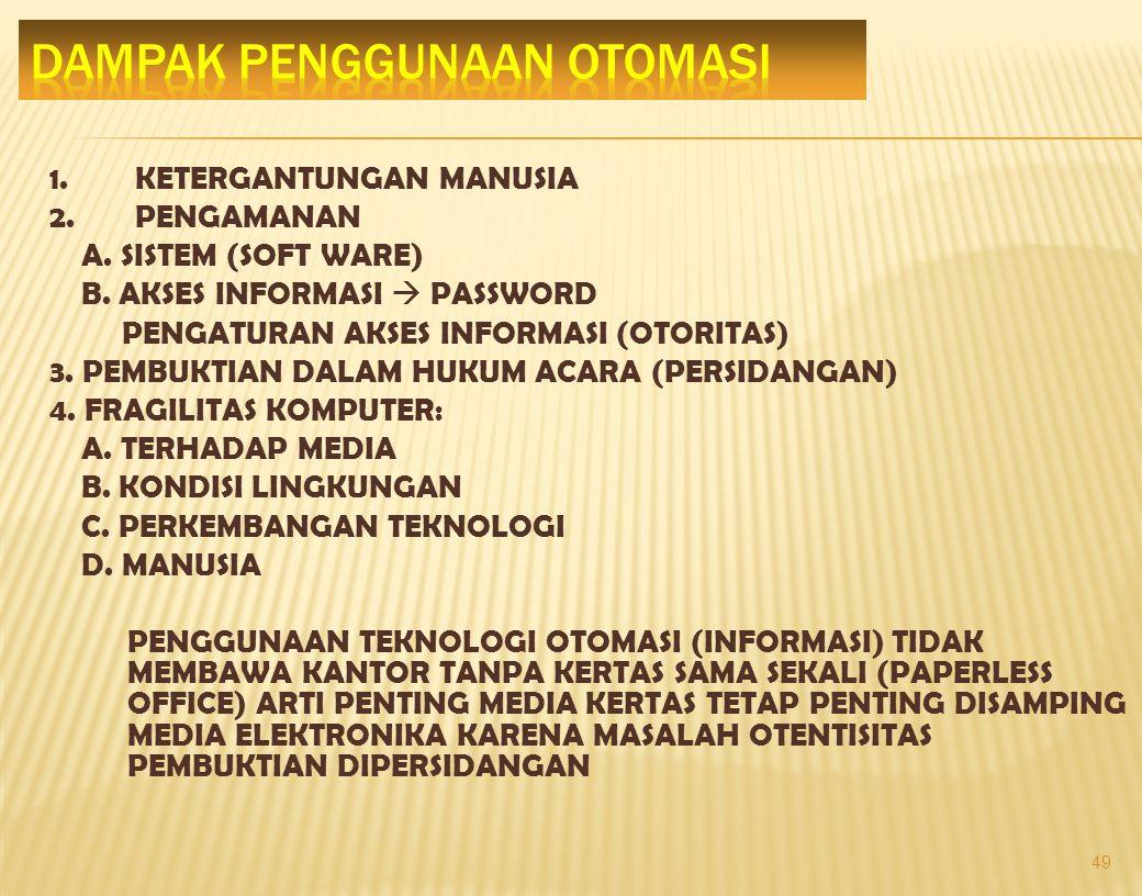 1.TATA PERKANTORAN  WORD PROCESSING  ELECTRONIC MAIL  KEUANGAN & KEPEGAWAIAN 2. SISTEM INFORMASI  PENGENDALIAN  PENYUSUTAN ARSIP  LOKASI ARSIP 