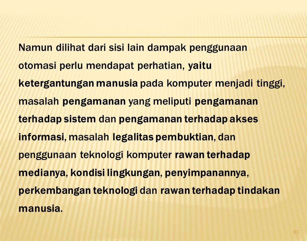 1. KETERGANTUNGAN MANUSIA 2. PENGAMANAN A. SISTEM (SOFT WARE) B. AKSES INFORMASI  PASSWORD PENGATURAN AKSES INFORMASI (OTORITAS) 3. PEMBUKTIAN DALAM