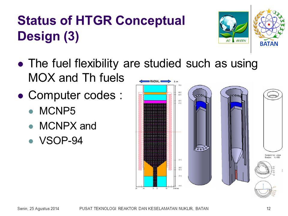 Status of HTGR Conceptual Design (3) The fuel flexibility are studied such as using MOX and Th fuels Computer codes : MCNP5 MCNPX and VSOP-94 Senin, 25 Agustus 2014PUSAT TEKNOLOGI REAKTOR DAN KESELAMATAN NUKLIR, BATAN12