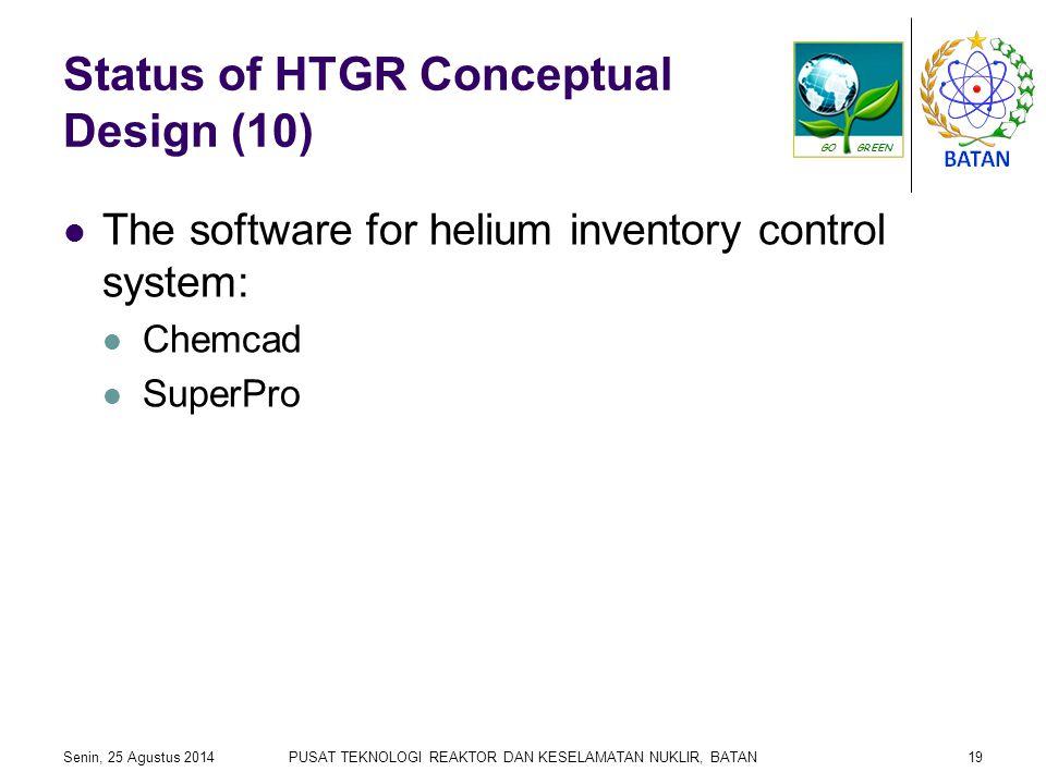 Status of HTGR Conceptual Design (10) The software for helium inventory control system: Chemcad SuperPro Senin, 25 Agustus 2014PUSAT TEKNOLOGI REAKTOR