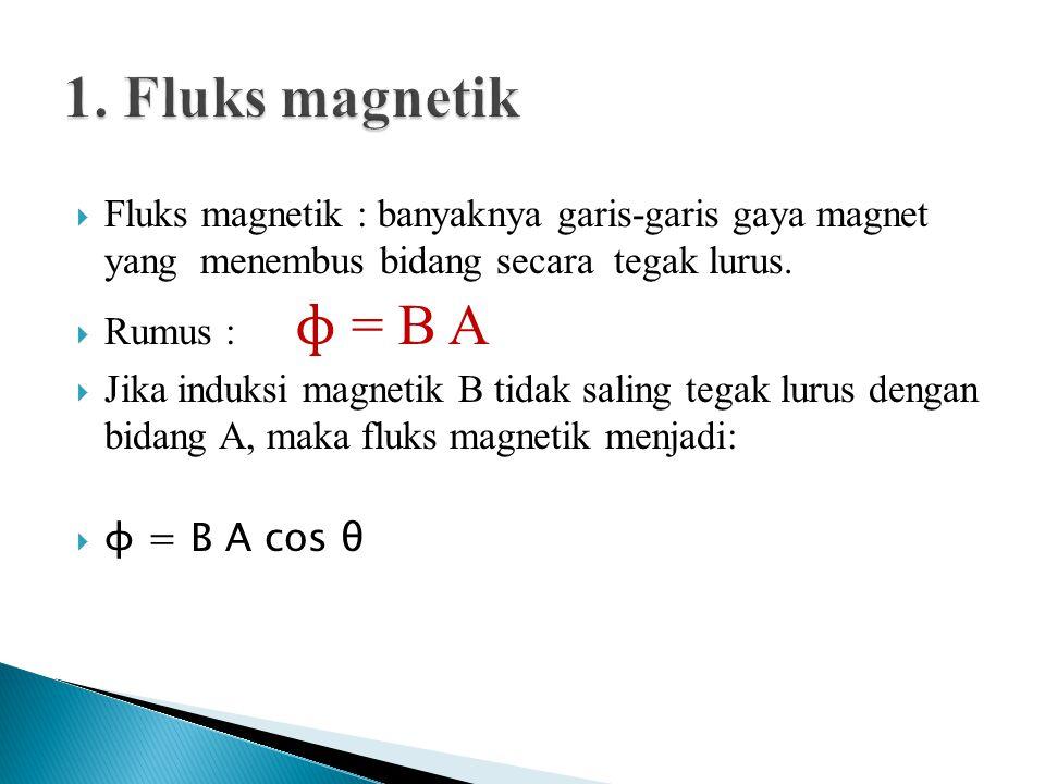  Fluks magnetik : banyaknya garis-garis gaya magnet yang menembus bidang secara tegak lurus.  Rumus : ɸ = B A  Jika induksi magnetik B tidak saling